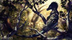 Acheroraptor vs Pachycephalosaurus: Beautiful Saurian concept art
