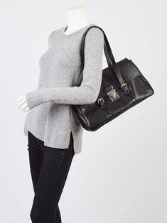 5fd34cd1c03e Louis Vuitton Black Epi Leather Segur MM Bag - Yoogi s Closet Louis Vuitton  Shoulder Bag