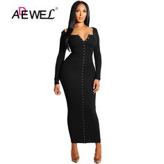 aeb4e2d3d547 ADEWEL 2018 Sexy Yellow Long Sleeve Bodycon Party Maxi Dress Women Casual  Slim Snap Button Ribbed Ankle Length Long Dress