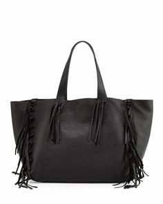 C-Rockee+Fringe+Leather+Tote+Bag,+Black+by+Valentino+at+Neiman+Marcus.