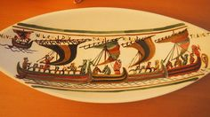 Ceramic Centerpiece by Faiencerie Baie Mont-Saint Michel Inspired by Bayeux Tapestry SOLD OUT