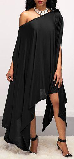 Batwing Sleeve Asymmetric Hem Skew Neck Black Dress