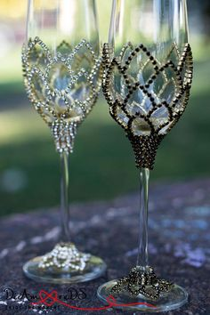 Wedding Glasses Wedding Champagne Flutes Gold & Crystal #wineglass