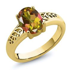 Promise Rings Simple | 180 Ct Oval Mango Mystic Topaz 14K Yellow Gold Ring *** Click image for more details.(It is Amazon affiliate link) #f4f