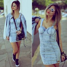 Look total jeans dress denim Coat Www.kaffka.com.br