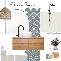 Mood Board Interior, Interior Design Boards, Bathroom Interior Design, Moodboard Interior Design, Interior Design Inspiration, Interior Styling, Coastal Powder Room, Bathroom Color Schemes, Bathroom Tiles Combination