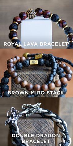 Black Girl Fashion Discover Bracelet Essentials by Trendhim Dragon Bracelet, Lava Bracelet, Bracelets For Men, Beaded Bracelets, Red Tigers Eye, Tiger Eye Beads, Mode Outfits, Polymer Clay Earrings, Apple Watch Bands