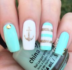 Nail Decal/ Nail Stencils Nautical nails by for Father's Day! Melissa is using our Anchor Nail Stencils found at: Nautical nails by for Father's Day! Melissa is using our Anchor Nail Stencils found at: Cute Nail Art, Cute Acrylic Nails, Cute Nails, Pretty Nails, Acrylic Gel, Anchor Nails, Nautical Nails, Nail Stencils, Nagel Gel