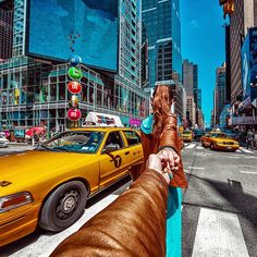 136.  #FollowMeTo NYC Yellow Taxi Cab. (the photo series by Russian Photographer, Murad Osmann)