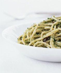 Pasta With Green Olive Pesto. Sub zucchini noodles and add white beans?