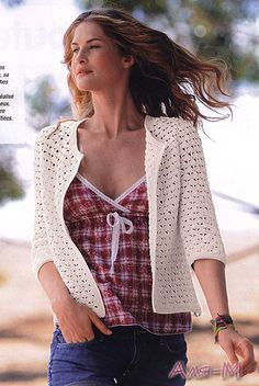 White Cardigan - Free Crochet Diagram - (crochetmoda.blogspot)
