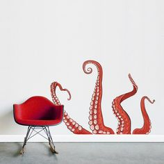 These tentacles look great creeping out from behind a couch or around a corner! Available in two colors, Red and Blue. If you enjoy this decal,