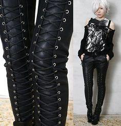 Rock Chic Motorcycle Biker Rider Laceup Leather-Like Cigarette Slim Pants/Jeans Heavy Metal Mode, Heavy Metal Fashion, Lace Pants, Jeans Pants, Leggings Are Not Pants, Denim Jeans, Shorts, Biker Wear, Biker Pants