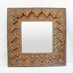 Hand painted square moroccan wood mirror frame. Beautiful traditional carvings and floral designs.
