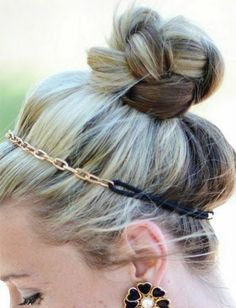 This braided top knot gets an upgrade with a cute chain link headband.