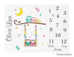 BABY GIRL MONTHLY Blanket Owl Tree Swing Milestone Month Newborn Growth Tracker Calendar Photo Picture Prop Personalize Name Shower Gift Month Blanket Baby, Baby Girl Blankets, Baby Milestone Blanket, Owl Nursery Decor, Baby Girl Owl, Owl Tree, Room Stickers, Owl Family, Baby Growth