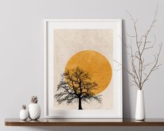 This Tree Silhouette Sun Print is available as or Prints, or we can frame them for you - with Free UK Delivery Simple Prints, Simple Art, Orange Wall Art, Tree Silhouette, Tree Print, Minimalist Art, Abstract Wall Art, Wall Art Prints, Design Art