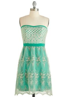 Scene Stealing Sweetie Dress - Short, Green, Tan / Cream, Embroidery, Lace, Party, Empire, Strapless, Better, Sweetheart, Exclusives