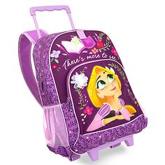 Ideal for school, play and journeys to faraway kingdoms, our Rapunzel rolling backpack makes every outing feel like an adventure! With its perfect size and wheeled design, this lovely carry-all is the perfect traveling companion. Rapunzel Disney, Disney Little Mermaids, Baby Disney, Little Backpacks, Kids Backpacks, Girls Luggage, Tsumtsum, Rolling Backpack, Baby Alive