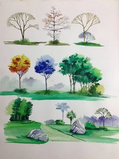 Architecture Drawing Trees landscaping trees | the diagram shows different forms of trees