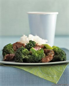 Children aren't always fans of a busy plate, which is why this stir-fry of sesame oil-infused beef and broccoli is a safe bet. Finely chopped herbs like garlic and scallions disappear into the simple sauce, invisibly imparting their flavor on the meat and veggies.