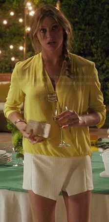 Josslyn's yellow draped front top and white asymmetric skort on Mistresses.  Outfit Details: http://wornontv.net/34286/ #Mistresses