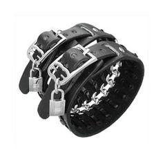Bracelet cuir double ceinture, chaine et cadenas