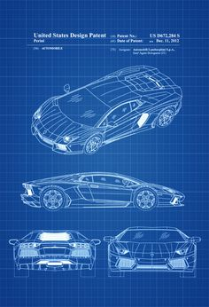 New to PatentsAsPrints on Etsy: Lamborghini Patent - Patent Print Wall Decor Automobile Decor Automobile Art Lamborghini Aventador Patent Lamborghini Blueprint (4.99 USD)