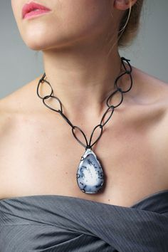 the Contra Collection by Megan Auman - stunning, one of a kind dendritic opal set in handcrafted steel settings - handmade in the US