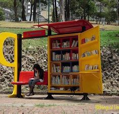 bus stop with books