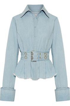 Marques' Almeida - Oversized Frayed Cotton-chambray Shirt - Light denim - large