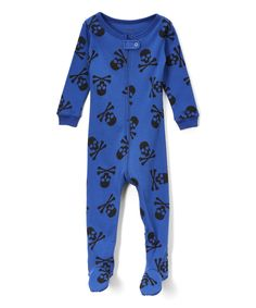 Blue Skull Footie Pajamas - Infant Toddler & Boys