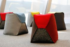 Beanbag Stools Filled with Recycled Bottle Caps - Design Milk #Furniture #PatternPod