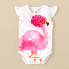 newborn - girls - flamingo bodysuit | Children's Clothing | Kids Clothes | The Children's Place