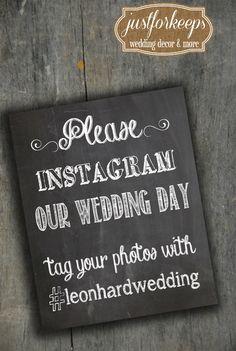 Instagram Wedding Sign Chalkboard Printable 8x10 PDF DIY Rustic Shabby Chic Woodland