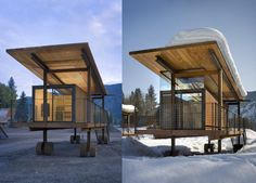 It may seem a cabin on wheels like any other, but wait until you see just how Olson Sundberg Kundig Allen Architects have designed it. Sitting lightly on the flood plain meadow, formerly a RV campground, each cabin is raised above the ground level to give the inhabitants a better view of the surrounding landscape. The entire structure of the cabin stands on a wood platform. One of the sides is made entirely of glass. It is actually a door which allows a direct view of the outside space.