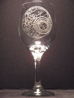 The Master's Fob Watch Inspired Wine Glass Engraved Glass:  Wasted Talent Designs, Reed Piper, Fredericktown, Pensylvania, Etsy