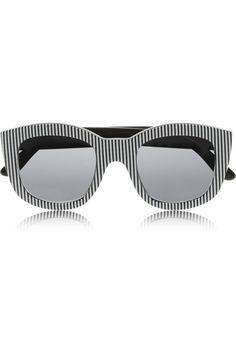 Le Specs|Runaways striped square-frame acetate sunglasses|NET-A-PORTER.COM