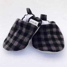 Buy Now Gray Buffalo Plaid Handmade Baby Shoes Baby Booties...
