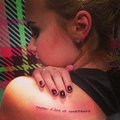 Demi Lovato 'warrior' Tattoo (she got a tattoo of her own lyrics. I think she means them. Blade Tattoo, Tattoo Now, Get A Tattoo, Hp Tattoo, Tattoo Music, Tattoo Time, Tattoo Script, Tiny Tattoo, Tattoo Flash