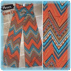 COLORFUL CHEVRON PALAZZOS These palazzos are beautiful in color and design. Six inch roll waist and made of polyester and spandex. Very flattering on any figure. NWOT tla2 Pants