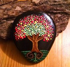 "Hand Painted Rock~ ""Fall Tree"" Dot Art Tree _Home Decor _ Painted Stones_Gift ideas by P4MirandaPitrone on Etsy"