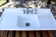 Large 4.5' Refinished 1951 Farm Sink American Standard Double Drainboard Cast Iron Porcelain Kitchen Sink Package
