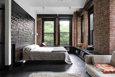 Bedroom in an industrial loft apartment in San Francisco. [1050 x 700]
