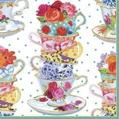 Caspari Entertaining Cocktail Napkin, Pink Tea Cups, 20-Pack