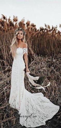 dcf156eb63c3 Off Shoulder Long Mermaid Lace Wedding Dresses, Country Wedding Dresse –  Berryera