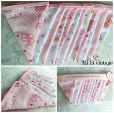 This lovely baby girl bunting comes in really lovely fabrics, four different designs, which all compliment each other. The flags are double sided and approx 7.5cm x 10cm and are approx. 2 metres in length, there are 12 flags on each, They will look lovely in a baby's nursery or in a young childs bedroom. …