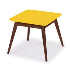 Mesa Lateral Basic Madeira Com Amarelo Stool, Table, Furniture, Industrial, Home Decor, Products, Design Trends, Solid Wood, Home Furnishings