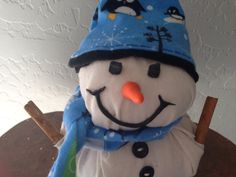 Holiday Snowman Decor Handmade of Cotton by eyepoppingcreations