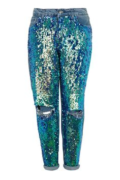 MOTO Mermaid Sequin Boyfriend - Jeans - Clothing - Topshop